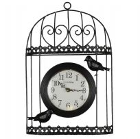 Large Black Wire Heart Design Bird Cage Wall Clock